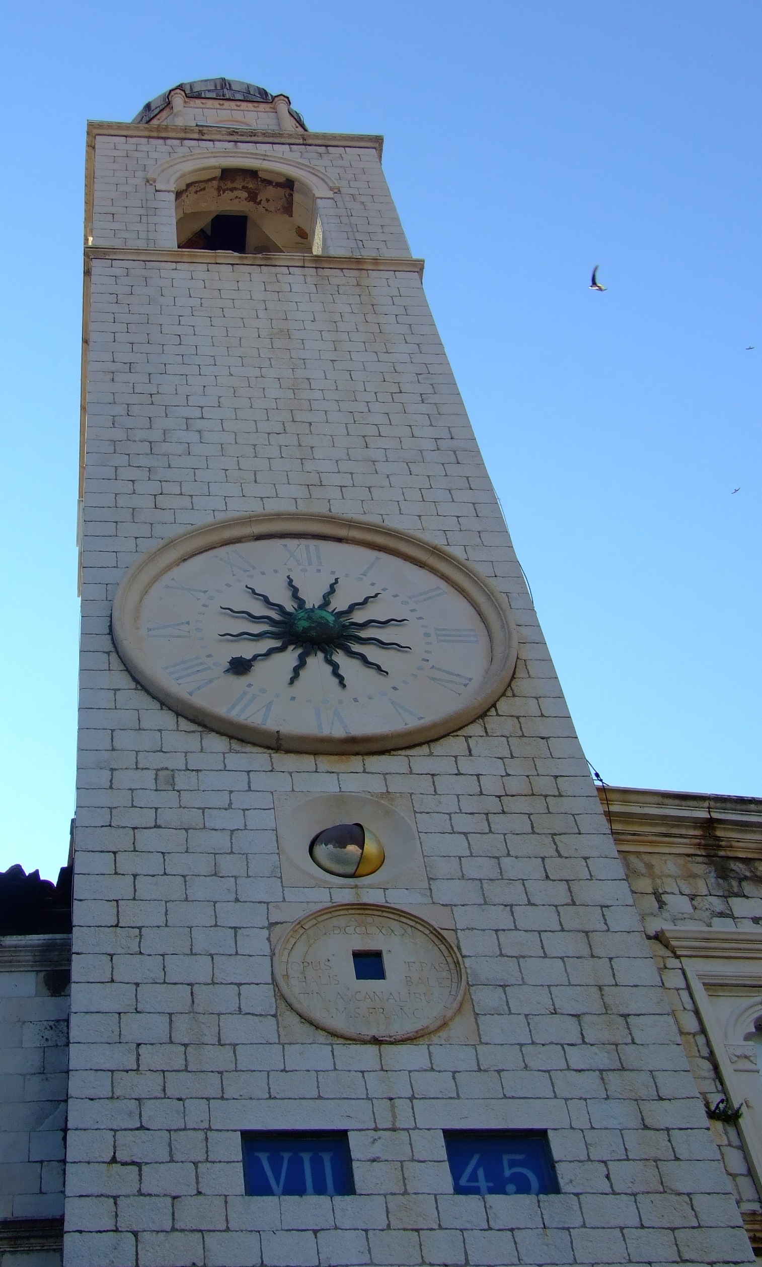 Dubrovnik Old City Clock Tower at 07:45 AM