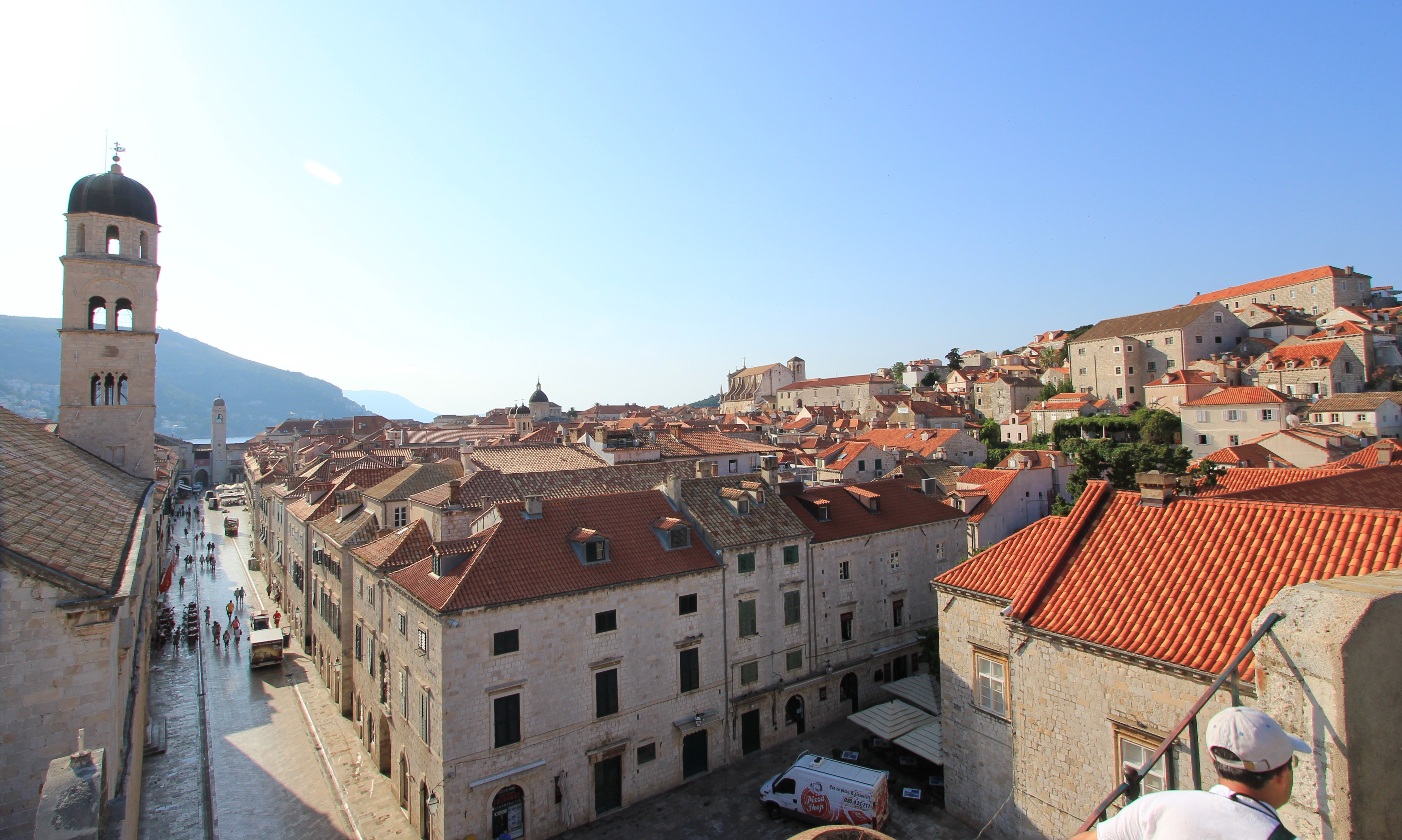 A view down Stradun from the top of the steps up to the Walls near Pile Gate