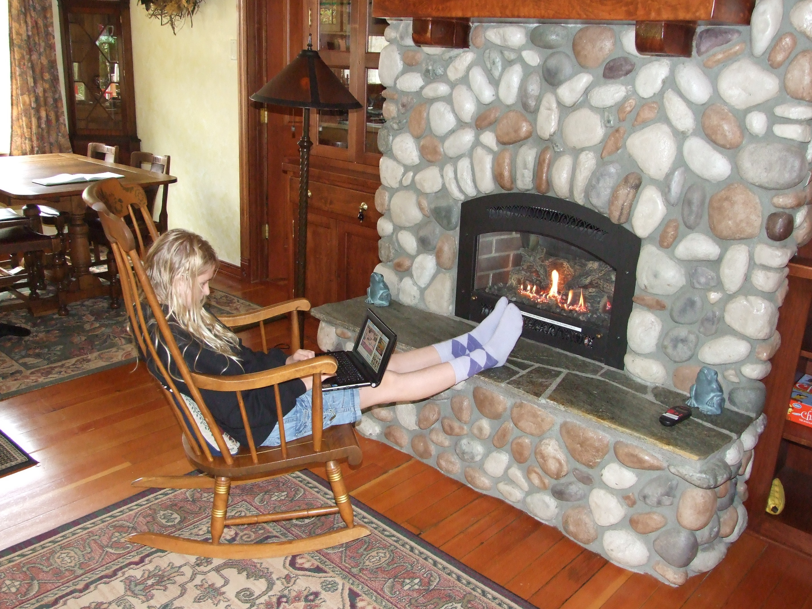 Toasted toes with wifi in the Cedar Breeze cabin at Sol Duc Riverside Cottages