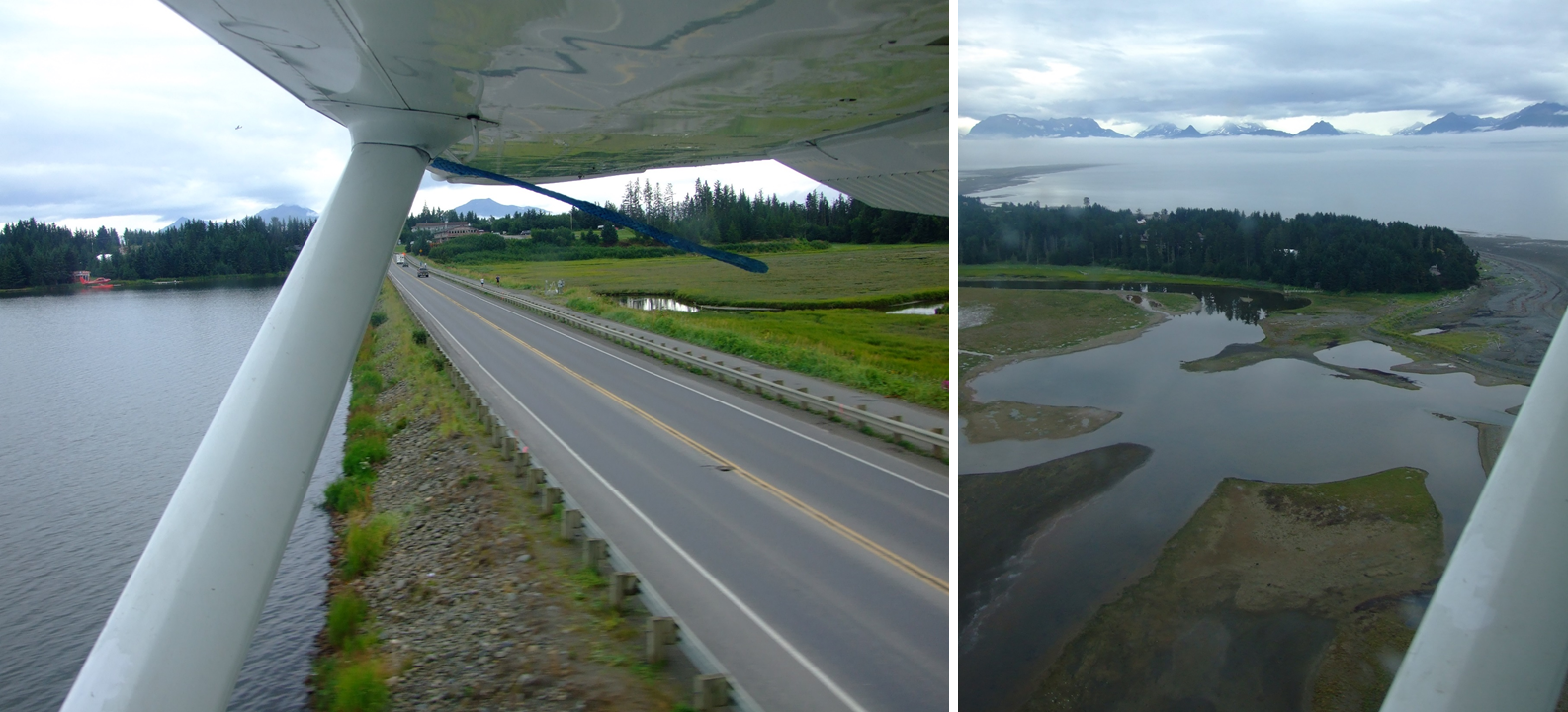 Sweeping over Bishops Beach, Beluga Slough (right image) and the AK1 (left image) we made our safe return to Steller Air (spot the red Steller Air floatplane in the left image).