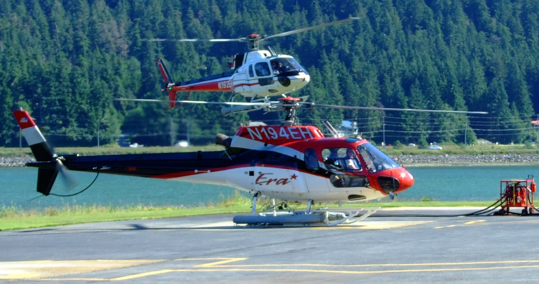 """The helipad is perched on the edge of the Gastineau Channel at 58°19'55"""" N, 134°29'50"""" W. The weather is not always this good as you can see from the photos on Google Earth at this location."""