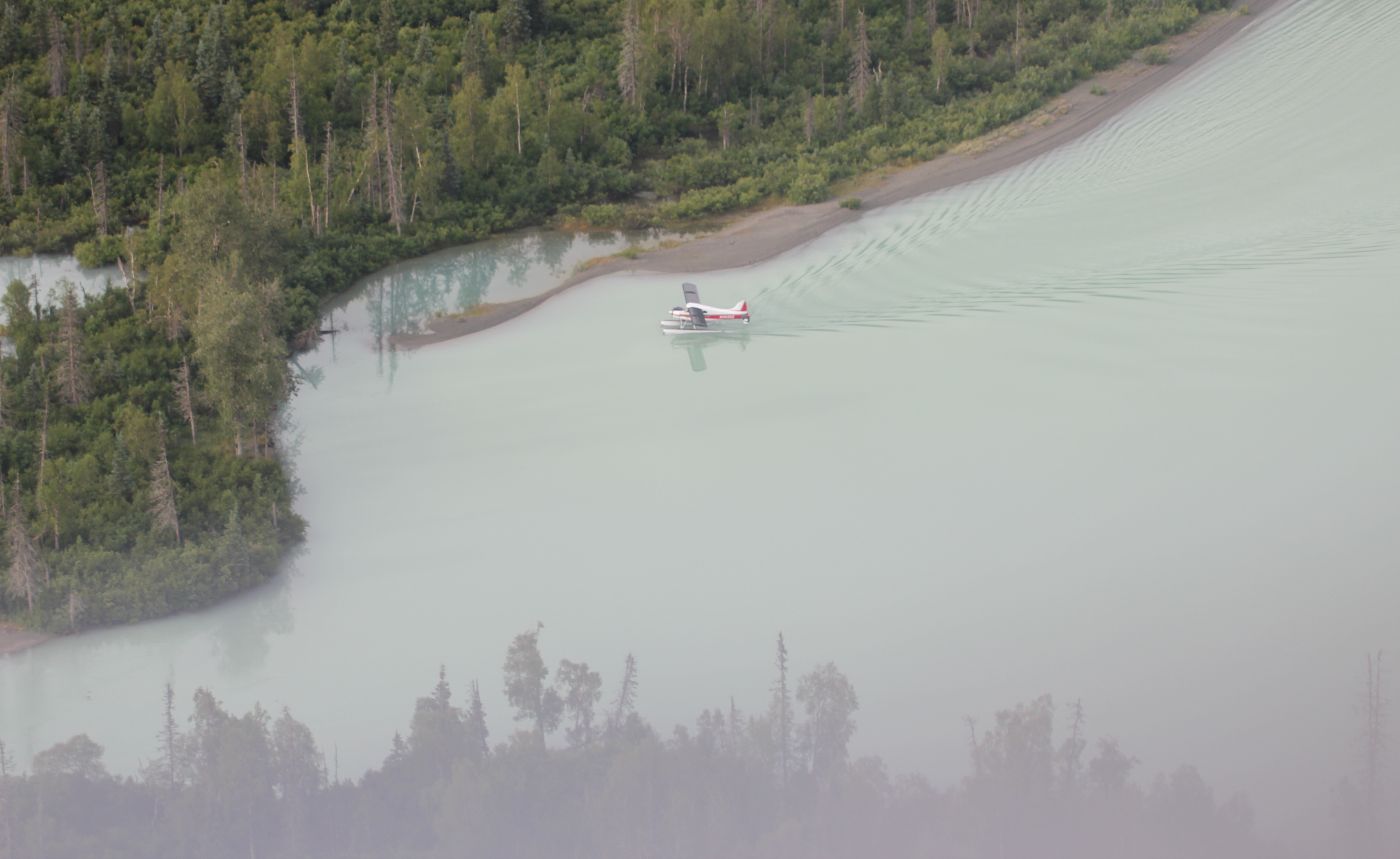 From above, the water of Crescent Lake was a distinctly milky blue-grey colour.