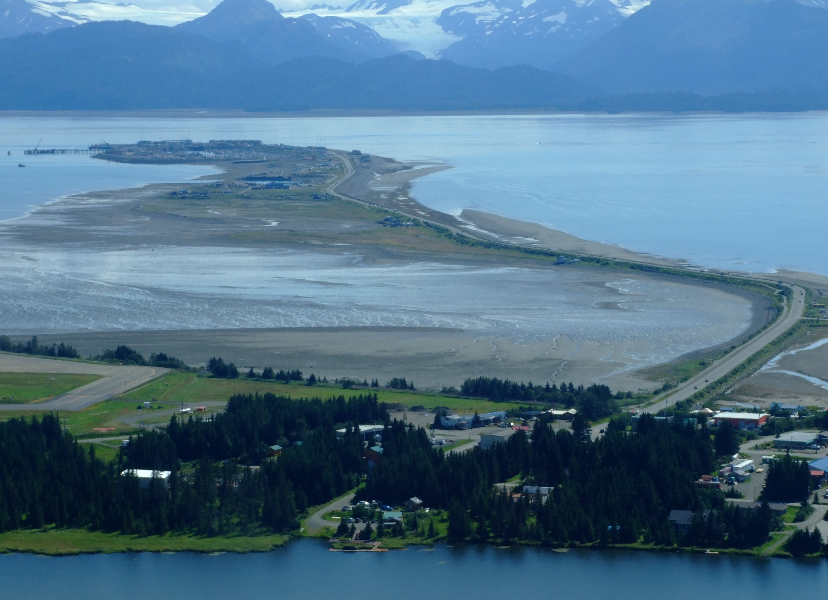 Homer Spit with the tide out at our return.