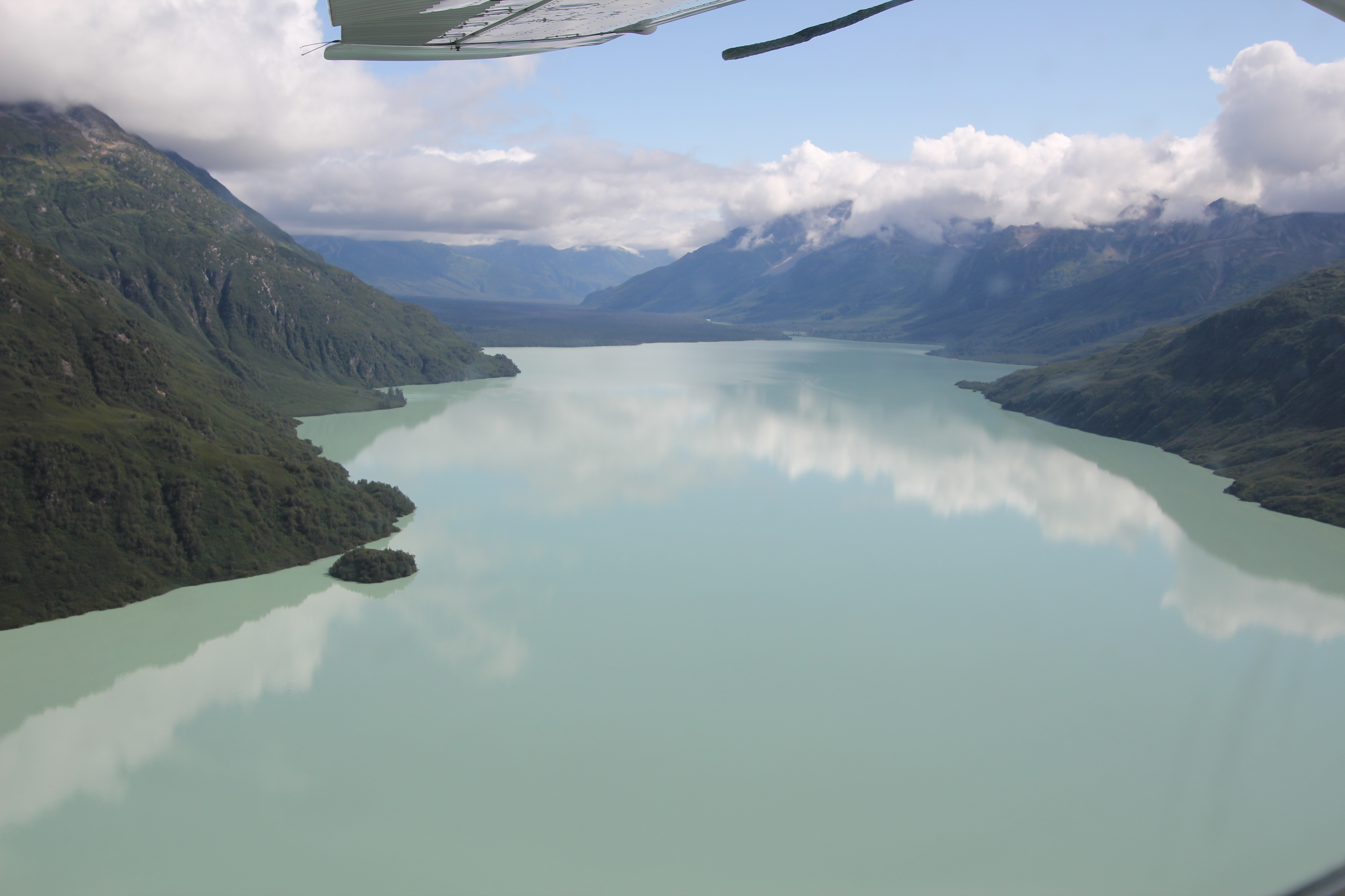 Circling at the top of Crescent Lake before heading over its calm surface and back down towards its outlet and the lower section of the Lake Fork Crescent River marked the start of the route back to Homer.