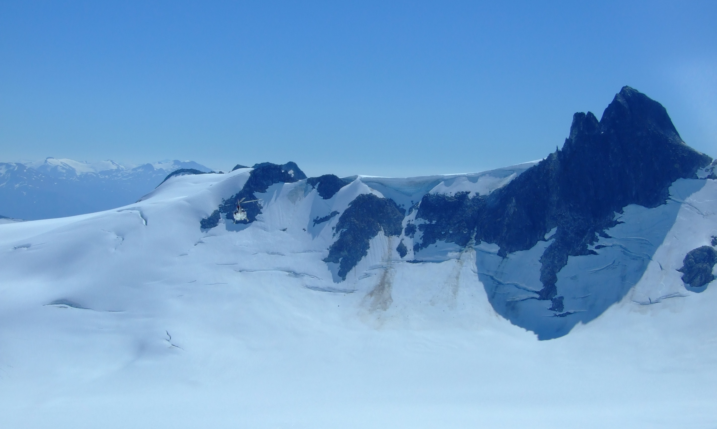 Passing by Split Thumb at the upper end of the Middle Branch Norris Glacier.