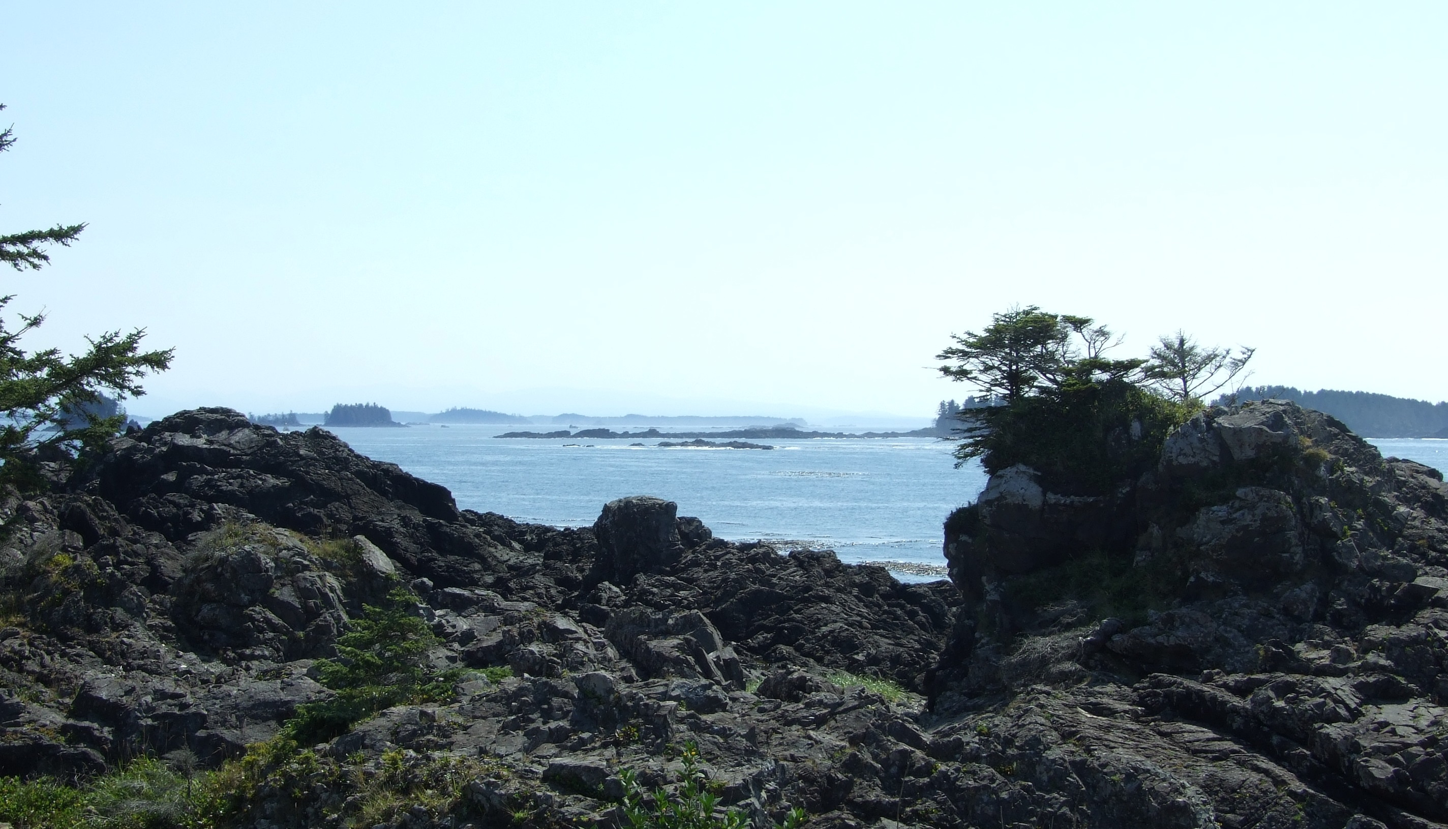 Having passed the Amphitrite Lighthouse, our final views of the Pacific from the trail were of some of the hundreds of islands in the 800 km2 (309 mi2) area of Barkley Sound, none of which is bigger than 2 km (1.24 mi.) across.