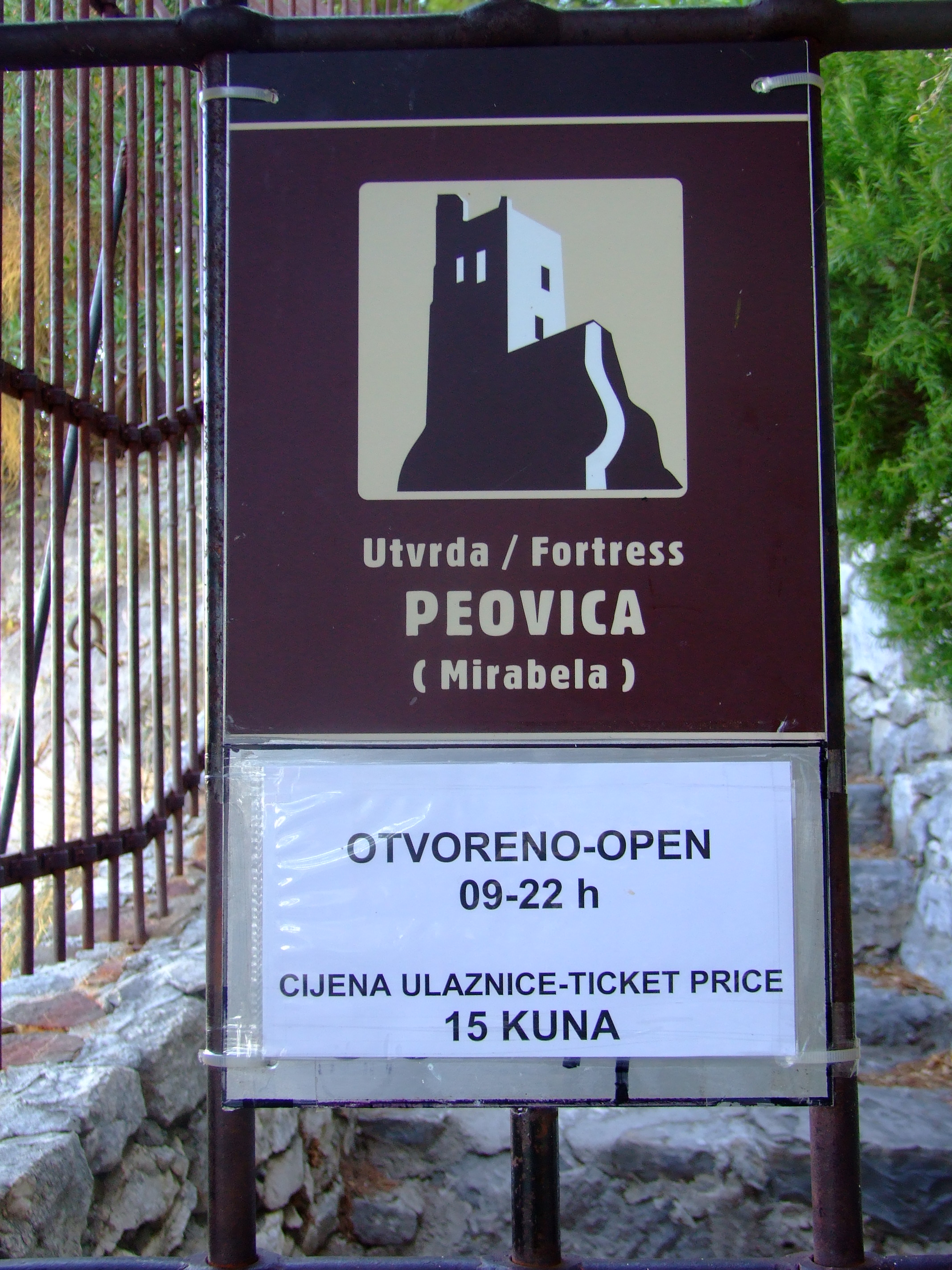 You can get to the entrance of the Mirabela Fortress by following the signs up a short 10-15 min. walk from the square where St. Michael's Church (Crkva Sv. Mihovila) is located on Knezova Kačića in Omiš old town.]