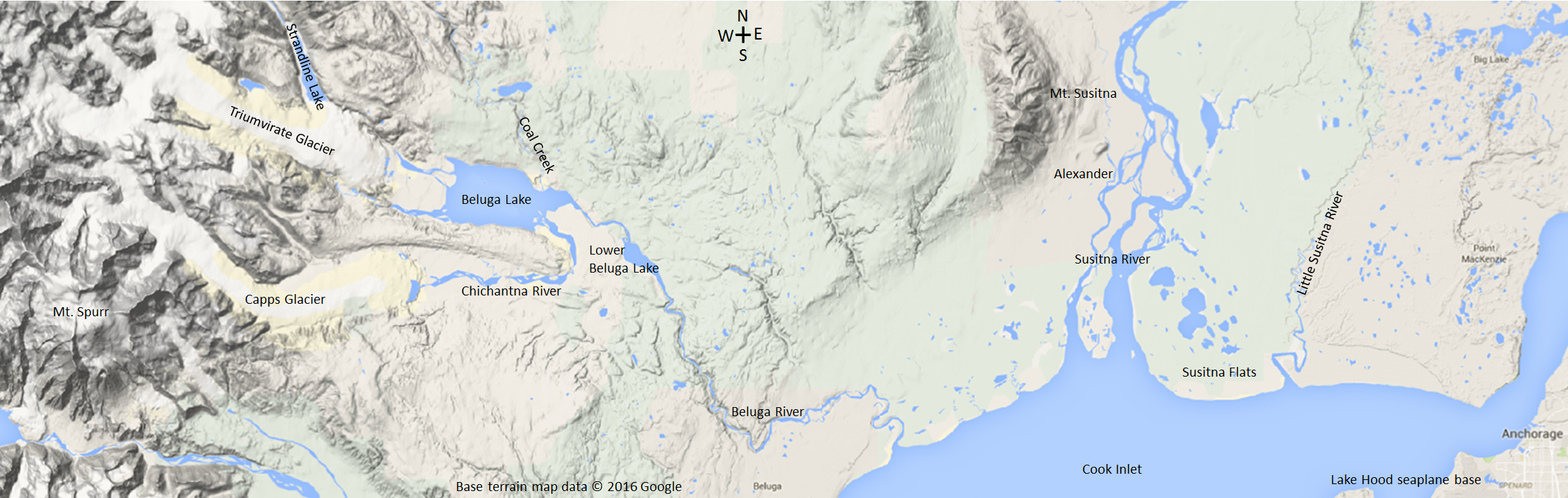 the area of our trip from anchorage to beluga lake base terrain map data