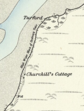 "The 1888 Ordnance Survey map showing ""Churchill's Cottage"", and a well."