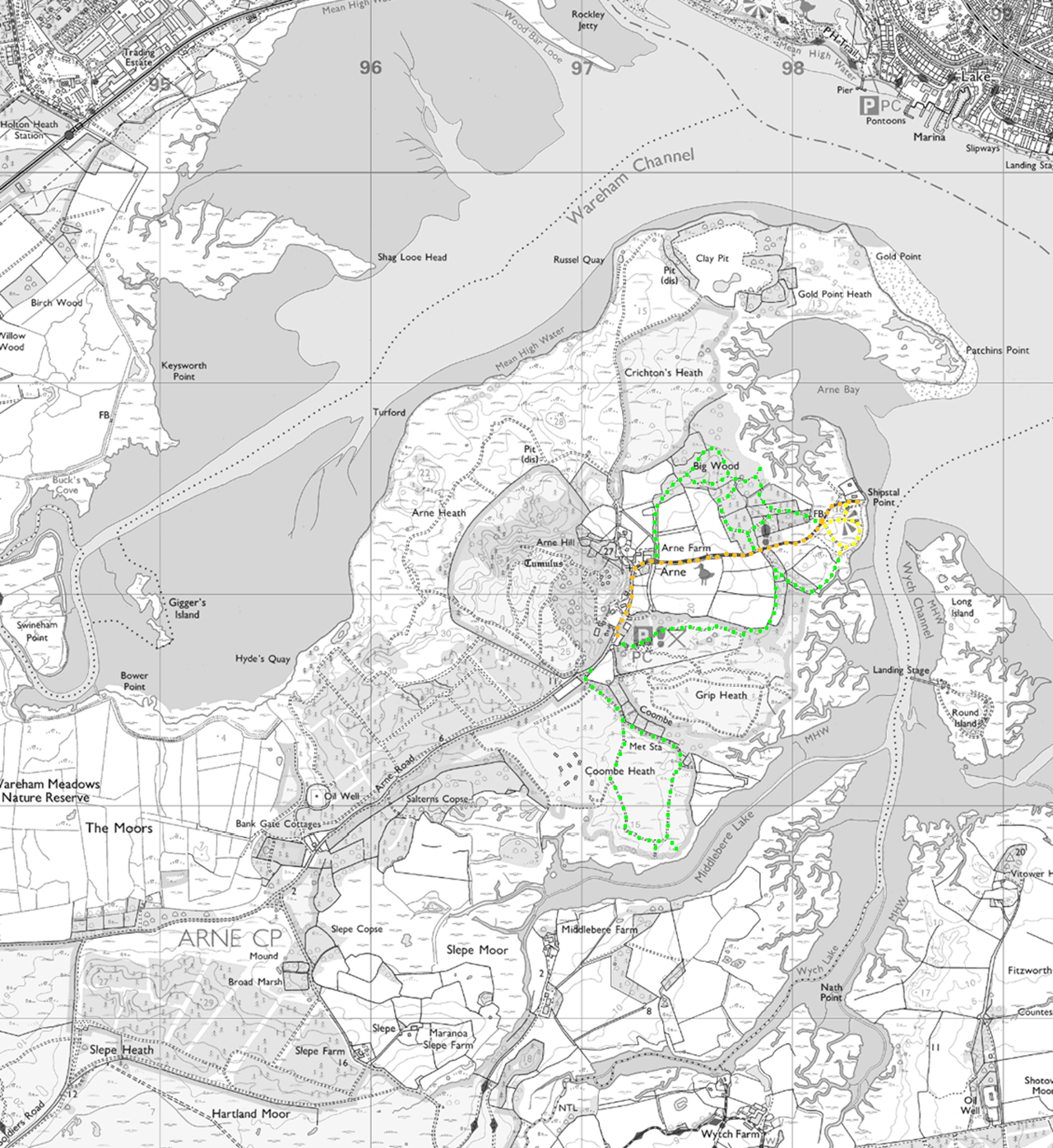 The orange route is the main path from the car park to Shipstal Point and is a designated public footpath (although the RSPB have just started steering pedestrians away from the initial metalled section of road via an alternative path to Arne Farm), the yellow tracks are those around Shipstal Hill, and the green tracks are other designated routes around the reserve. [Source of base map: MagicMap (c) Crown Copyright and database rights 2016. Ordnance Survey 100022861.]