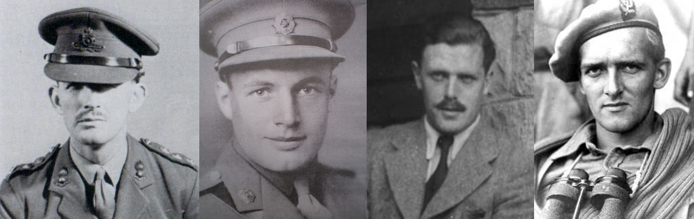 "[L-R] Maj. ""Gus"" March-Phillips, DSO, OBE, MBE; Major J Geoffrey Appleyard, DSO, MC; Captain Graham Hayes, MC; (then) Pte. (later) Maj. Anders Lassen, VC, MC & Two Bars. All of these men gave their lives in the fight for their countries' freedom before the end of the war."