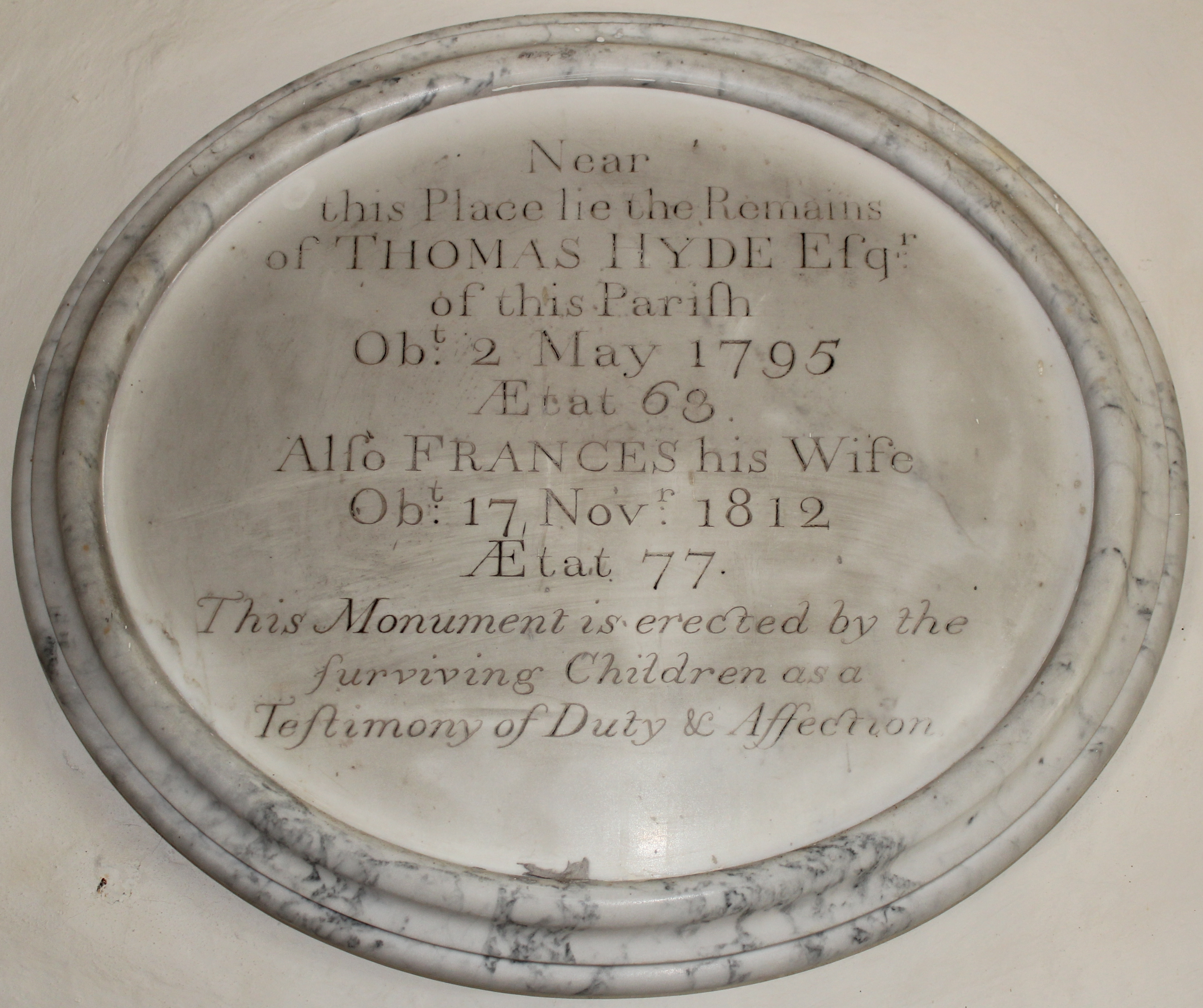 A memorial plaque to Thomas Hyde and his wife Frances can be found in the Church of St. Nicholas in Arne.